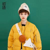 初语新款夹克加厚羽绒服女2018冬  棒球领BF廓形宽松立领外套