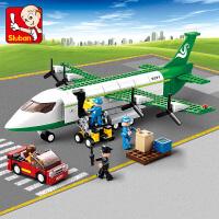 小鲁班拼装积木空中巴士飞机男孩益智玩具拼插塑料模型积木