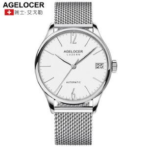 Agelocer艾戈勒瑞士进口大日历手表防水机械表超薄男表全自动精钢