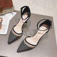 包头凉鞋女士细跟春季2019新款韩版百搭尖头仙女风一字扣带高跟鞋夏季百搭鞋