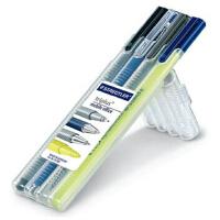 德国STAEDTLER施德楼 34SB4三角杆中性笔圆珠笔荧光笔4支便携套装