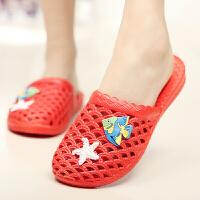 夏季包头拖鞋透气防水凉鞋女士防滑洞洞鞋塑料镂空沙滩厚底凉拖鞋