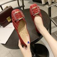 单鞋女2019夏款韩版低帮鞋女时尚浅口套脚方头百搭休闲百搭单鞋女
