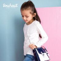 【3件3折 到手价:56.7元】水孩儿(SOUHAIT)秋季新款女童蕾丝领圆领衫AQAQL452