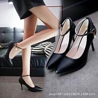 尖头高跟鞋_性感尖头高跟鞋细跟一字扣女鞋黑色职业鞋浅口女上班批发
