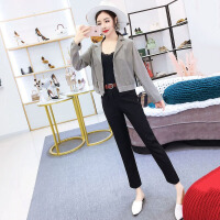 套装女秋装西装领长袖格子衬衣+高腰直筒长裤时尚两件套韩版气质