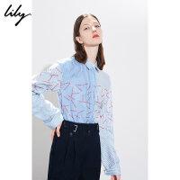 Lily春新款女装蓝色条纹字母印花直筒长袖衬衫118430C4508