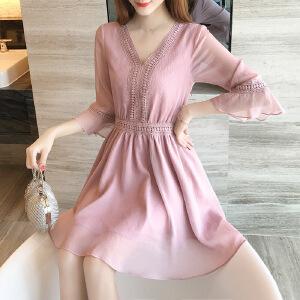 2017夏季新款韩版v领镂空蕾丝拼接雪纺连衣裙女夏显瘦a字裙子