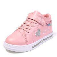 女童板鞋中帮秋季童鞋女孩小白鞋儿童休闲运动鞋公主鞋子