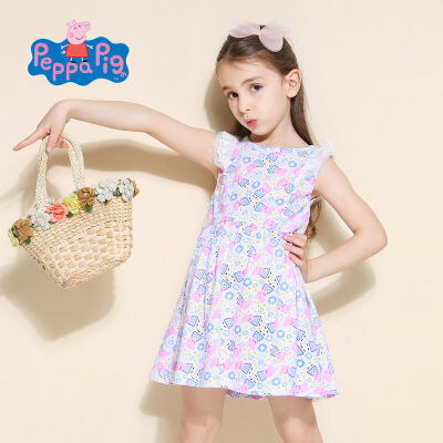 [2件6折]小猪佩奇正版童装女童夏装时尚满印小猪纯棉百褶连衣裙公主裙