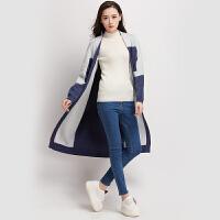 秋冬季新款开衫毛衣女外套厚款拼色针织v领兔绒大衣中长款特惠