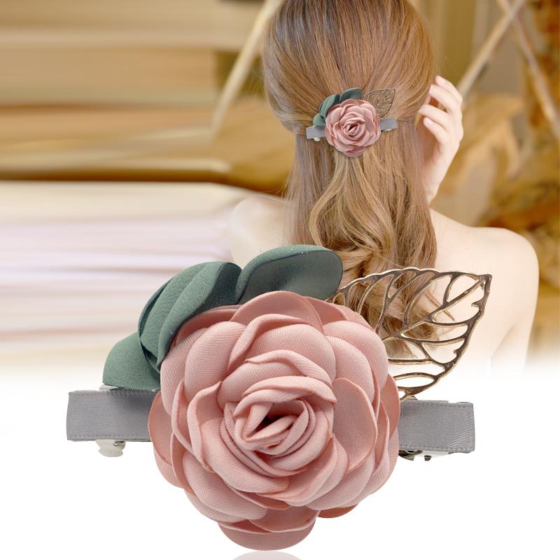 头饰顶夹子发卡弹簧夹发夹一字夹文艺花朵发饰品