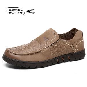 骆驼动感男鞋男休闲鞋头层真皮一脚套男潮鞋