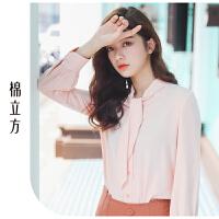 白衬衫女长袖2019春季新款棉立方心机设计感上衣韩版V领休闲衬衣