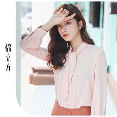 白衬衫女长袖2019春季新款棉立方心机设计感上衣韩版V领休闲衬衣 小V领设计  时尚领口绑带装饰