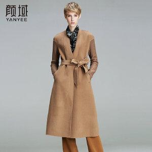 颜域品牌女装2017冬装新款欧美纯色拼接针织长袖双面呢大衣