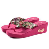 夏季波西米亚外穿人字拖鞋布带女士沙滩拖坡跟松糕防滑厚底凉拖鞋 38 码偏小些 女款
