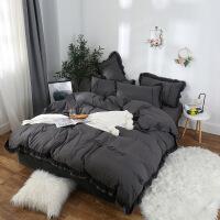 床上用品韩版蕾丝花边刺绣公主风四件套磨毛床单纯色水洗棉四件套