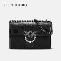 JELLY TOYBOY Stella Bag蛇皮纹系列女包包2018新款潮单肩斜挎包小包 燕子链条包女