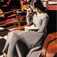 秋冬长袖一字领针织连衣裙chic港味纯色气质百搭裙中长款打底裙仙 灰色