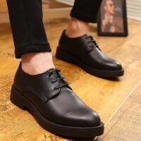 韩版男士皮鞋英伦厚底潮鞋系带加绒商务休闲鞋黑色正装内增高鞋