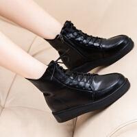 秋冬季新款平底短靴系带马丁靴英伦风圆头短筒机车靴女靴子