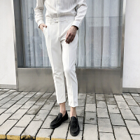 白色裤子男韩版潮流小西裤男九分裤修身小脚休闲裤男士帅气西装裤 白色