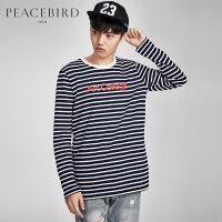 太平鸟男装蓝白条纹纯棉印花男士圆领长袖T恤韩版