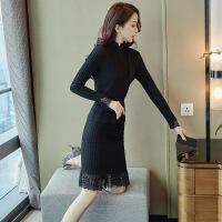 针织连衣裙女秋冬装2018新款时尚中长款冬季过膝打底毛衣裙两件套 黑色