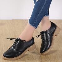 休闲鞋女鞋季英伦风女鞋布洛克款式粗跟学院复古小皮鞋中低跟系带牛津单鞋