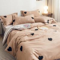 ins风床上四件套纯棉网红款床单被套三件套单人学生宿舍用品 四件套:1.5m床 适合200x230cm被子【全