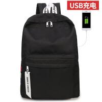 旅行背包USB充电男士双肩包运动休闲旅行背包电脑包女大学生书包 黑色