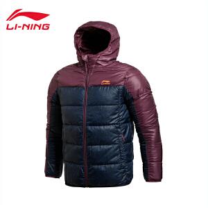 李宁短款羽绒服男士运动生活系列保暖连帽冬季90%白鸭绒运动服AYMJ119