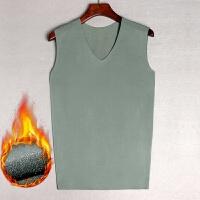 2018新品冬季男士莫代尔棉无痕V领保暖无袖背心加绒薄款修身宽肩袖大码