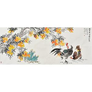 当代知名画家孔繁珍小六尺花鸟画gh01205
