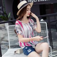 2017年 夏季新款 圆领 印花 扎染 条纹 雪纺衫 短袖
