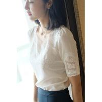 宽松白色蕾丝领刺绣真丝衬衫女2018夏季新款桑蚕丝上衣短袖T恤t装YS01