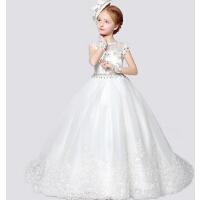 新款女童婚纱公主裙 时尚儿童礼服 年会钢琴裙长拖尾