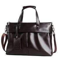 软皮男士手提包大容量2018新款男包包横款出差商务公文包韩版