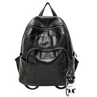 冬季新款大容量双肩包女韩版百搭旅行背包英伦时尚软pu皮女士书包