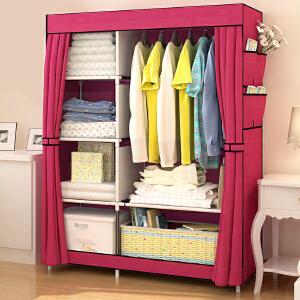 御目  简易衣柜 现代经济型布艺衣柜布衣柜钢管加固钢架衣橱家用卧室宿舍折叠收纳柜子 创意家具