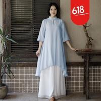 原创夏季新品原创民族风女装复古改良旗袍上衣女不规则长衫 蓝色