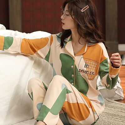 南极人睡衣女士家居服棉质舒适透气翻领纽扣KH6177