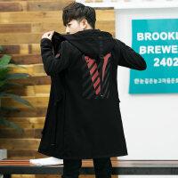 男士中长款风衣青少年春秋网红外套韩版修身ins超火夹克潮流秋装 黑色