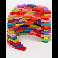 儿童益智玩具彩色多米诺骨牌木质婴幼儿早教木质玩具木制小方木块