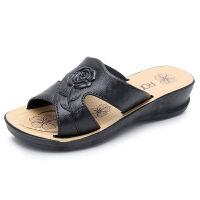 玫瑰花妈妈拖鞋夏季新款凉拖鞋女夏平底中老年女鞋老人室外穿 703+10 黑色