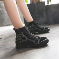 马丁靴女2019新款 百搭韩版粗跟低跟绒面马丁靴女英伦风短靴女潮
