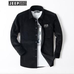 JEEP吉普条绒长袖衬衫男秋冬厚款外穿中青年灯芯绒衬衣男士商务休闲上衣外套