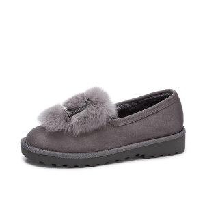 camel 骆驼女鞋  秋冬新品 时尚个性兔毛金属方扣平跟舒适绒里单鞋女
