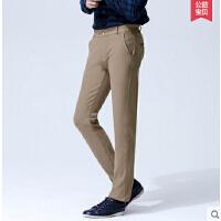 新款 直筒裤男裤中腰修身男士商务休闲裤大码弹力男长裤